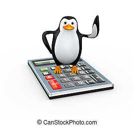 3d penguin standing on calculator