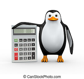 3d penguin standing with calculator