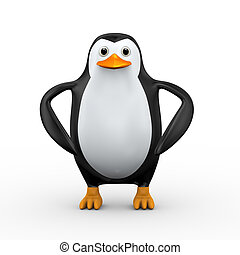 3d penguin stylish standing pose