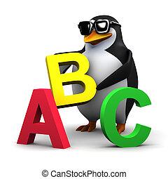 3d Penguin teaches the alphabet