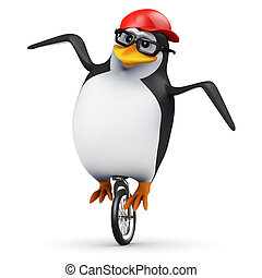 3d Penguin unicycle - 3d render of a penguin on a unicycle
