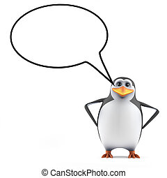 3d Penguin with a blank speech bubble