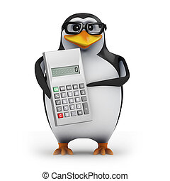 3d Penguin with a calculator