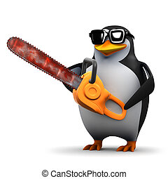 3d Penguin with a chainsaw