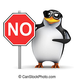 3d Penguin with a No sign