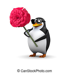 3d Penguin with a red rose