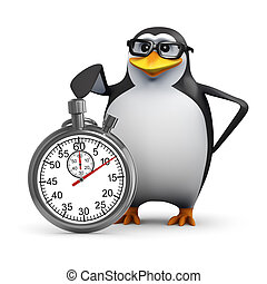 3d Penguin with a stopwatch