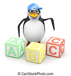 3d Penguin with alphabet blocks