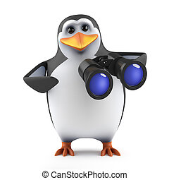 3d Penguin with binoculars