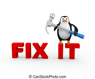 3d penguin with claw hammer on fix it