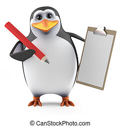 3d Penguin with clipboard