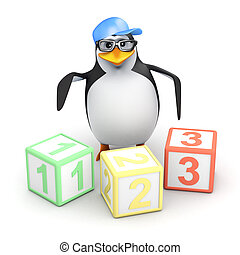 3d Penguin with counting blocks