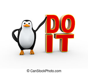 3d penguin with do it text