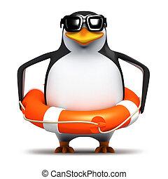 3d Penguin with life belt - 3d render of a penguin wearing a...