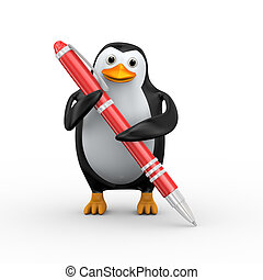 3d penguin with red big pen