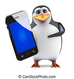 3d Penguin with smartphone