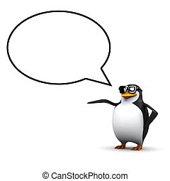 3d Penguin with speech balloon
