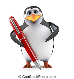 3d Penguin writing with a pen