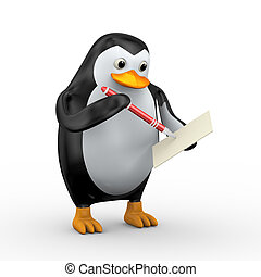 3d penguin writing with pen
