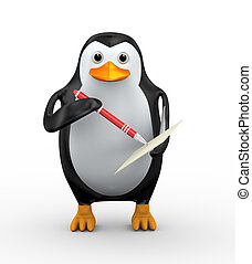 3d penguin writing with pen on paper