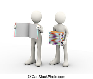3d people and books