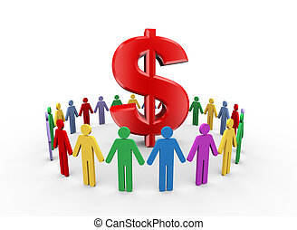 3d people and dollar symbol sign