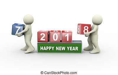 3d people and happy new year 2018