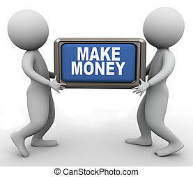 3d people and make money button - 3d men holding 'make...