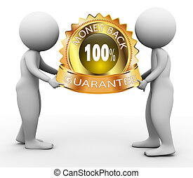 3d people and moneyback guarantee - 3d men holding 100%...