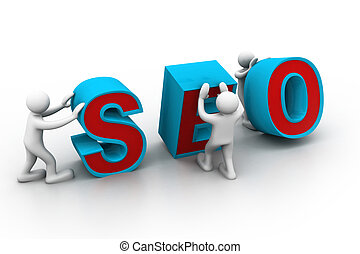 "3d people and word ""seo""."