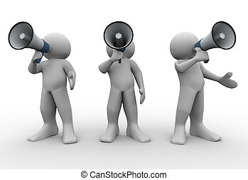3d render of people with megaphones. 3d illustration of human characters.