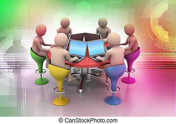 3d people around a table looking at laptops