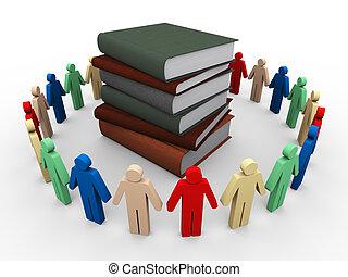 3d people around books