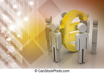 3d people around euro sign