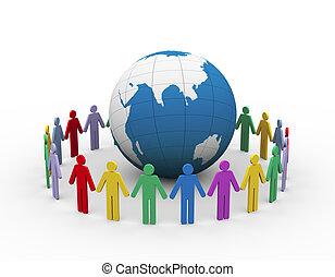 3d people around globe