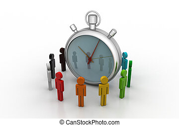 3d people around the clock, time management concept