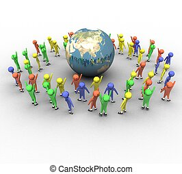 3d people around the earth on a white background isolated