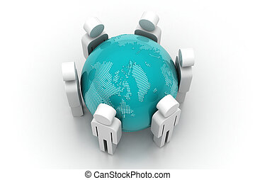 3d people around the globe