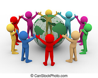 3d illustration of differnt colorful man holding hands in circle around transparent globe. 3d rendering of human people character.