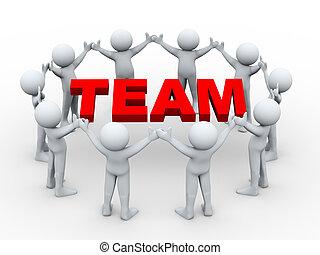 3d people around word team
