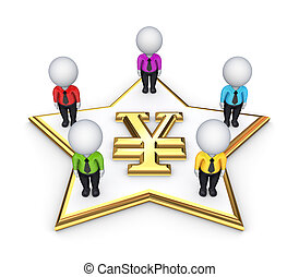 3d people around yen symbol.
