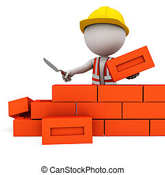 3d people as worker with bricks