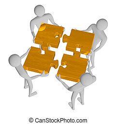 3d people assembling golden puzzle