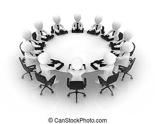 3d people at a round table. Teamwork concept