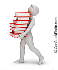 3d the person bearing books. 3d image. Isolated background.