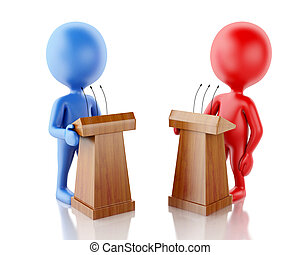 3d People being opponents in a debate.