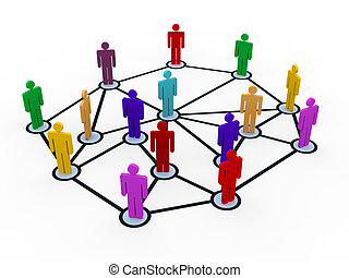 3d people business communication network