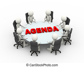 3d illustration business people sitting around a agenda conference table and discussing during a business meeting. 3d human person character and white people