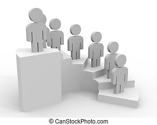 3D people. Career stair concept.