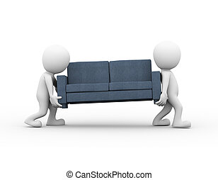 3d people carrying a sofa